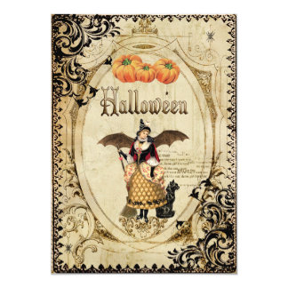 Vintage Witches Halloween Party Invitation Cards