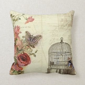 Vintage with Roses Bird Cage Throw Pillow
