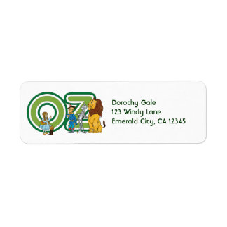 Vintage Wizard of Oz Characters and Text Letters Return Address Label