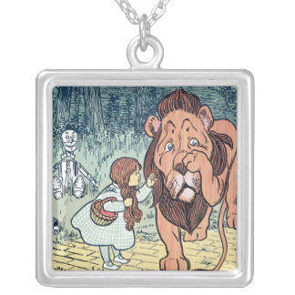 Vintage Wizard of Oz Characters, Yellow Brick Road Silver Plated Necklace