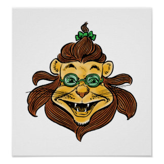 Vintage Wizard of Oz, Cowardly Lion Laughing Smile Posters