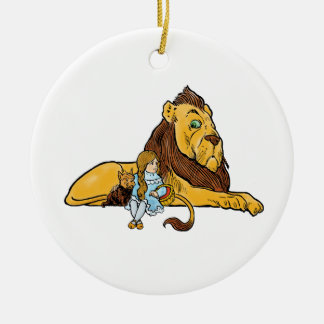 Vintage Wizard of Oz, Dorothy and Toto with Lion Ceramic Ornament