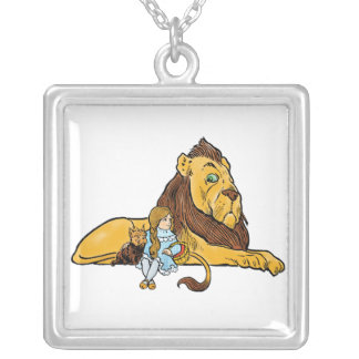 Vintage Wizard of Oz, Dorothy and Toto with Lion Silver Plated Necklace