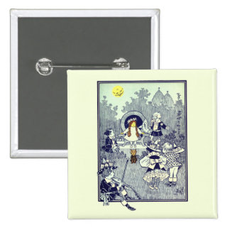 Vintage Wizard of Oz, Dorothy Meets the Munchkins 2 Inch Square Button