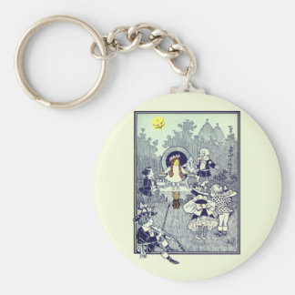 Vintage Wizard of Oz, Dorothy Meets the Munchkins Basic Round Button Keychain