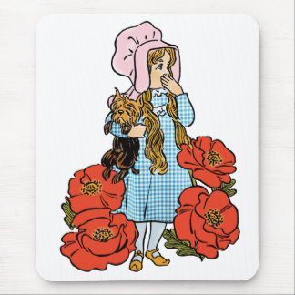 Vintage Wizard of Oz, Dorothy, Red Poppy Flowers Mouse Pad