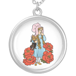Vintage Wizard of Oz, Dorothy, Red Poppy Flowers Silver Plated Necklace