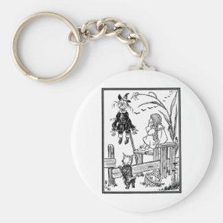 Vintage Wizard of Oz, Dorothy Toto Meet Scarecrow Basic Round Button Keychain