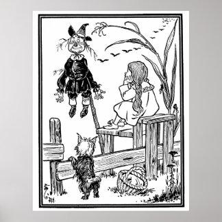 Vintage Wizard of Oz; Dorothy Toto Meet Scarecrow Print