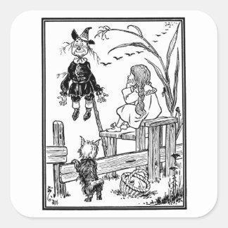 Vintage Wizard of Oz; Dorothy Toto Meet Scarecrow Square Sticker