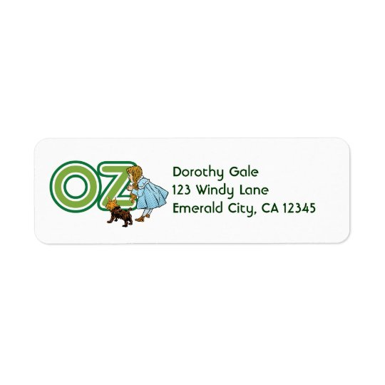 Vintage Wizard of Oz Dorothy Toto with BIG Letters Return Address Label