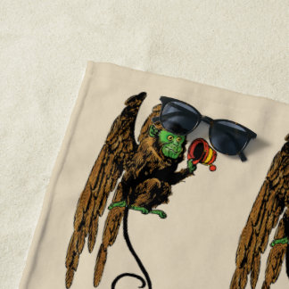 Vintage Wizard of Oz, Evil Flying Monkey Hat Beach Towel