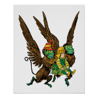 Vintage Wizard of Oz, Evil Flying Monkeys Dorothy Print