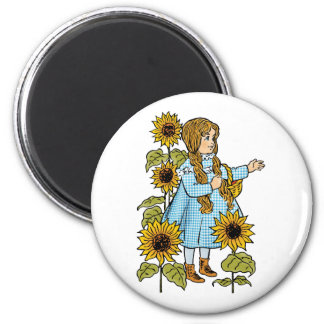 Vintage Wizard of Oz Fairy Tale Dorothy Sunflowers 2 Inch Round Magnet