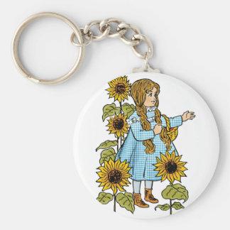 Vintage Wizard of Oz Fairy Tale Dorothy Sunflowers Basic Round Button Keychain