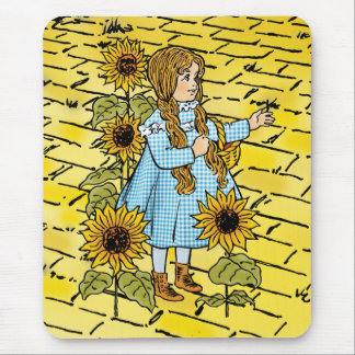 Vintage Wizard of Oz Fairy Tale Dorothy Sunflowers Mouse Pad