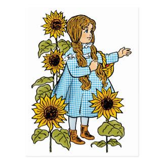 Vintage Wizard of Oz Fairy Tale Dorothy Sunflowers Postcard