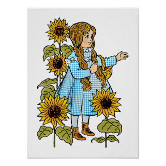 Vintage Wizard of Oz Fairy Tale Dorothy Sunflowers Poster