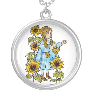 Vintage Wizard of Oz Fairy Tale Dorothy Sunflowers Silver Plated Necklace