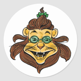 Vintage Wizard of Oz, Lion Wearing Green Glasses Classic Round Sticker
