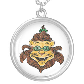 Vintage Wizard of Oz, Lion Wearing Green Glasses Silver Plated Necklace