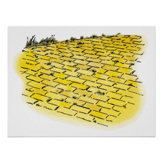 Vintage Wizard of Oz Yellow Brick Road Posters
