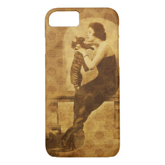 Vintage woman and cat iphone 7 case