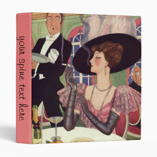 Vintage Woman Drinking Champagne Smoking Cigarette Vinyl Binder