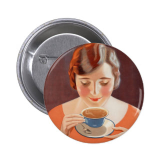 Vintage Woman Drinking Tea Painting Ad 2 Inch Round Button