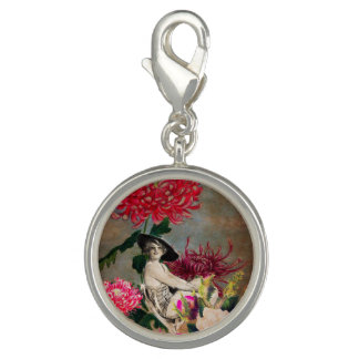 Vintage Woman Flower Collage Charms