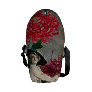 Vintage Woman Flower Collage Messenger Bag