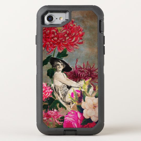 Vintage Woman Flower Collage OtterBox Defender iPhone 7 Case