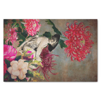 Vintage Woman Flower Collage Tissue Paper