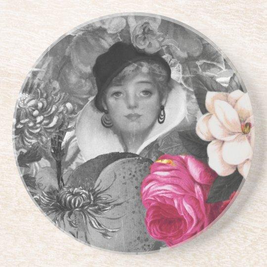 Vintage Woman Flower Garden Coaster
