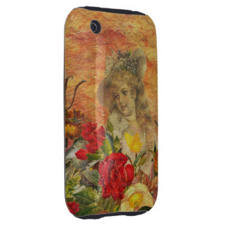 Vintage Woman Flower Garden iPhone 3 Tough Cover