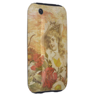 Vintage Woman Flower Garden Tough iPhone 3 Cover