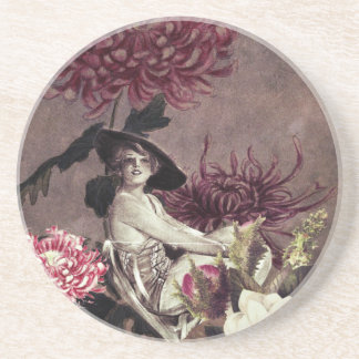 Vintage Woman Glass Floral Collage Coaster