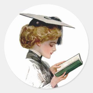 Vintage Woman Graduate Classic Round Sticker