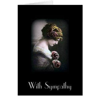 Vintage Woman in Black Sympathy Card