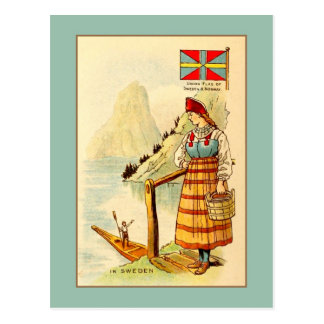 Vintage woman In Sweden, Union flag, mountains Postcard