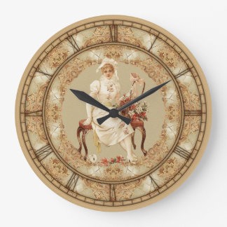 Vintage Woman On Bench Large Clock