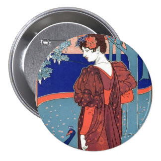 Vintage Woman & Peacock 3 Inch Round Button