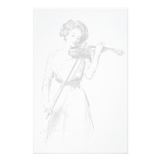 Vintage, woman playing the violin stationery