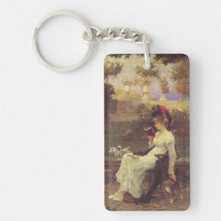 Vintage Woman Reading V2 Double-Sided Rectangular Acrylic Keychain