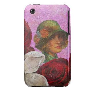 Vintage Woman Rose Flowers iPhone 3 Case