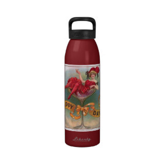 Vintage Woman Sitting in Champagne Glass Reusable Water Bottles