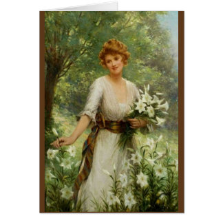 Vintage Woman Standing In the In Spring Flowers Card