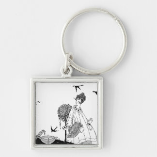 Vintage Woman with Bird Bath and Swallows Silver-Colored Square Keychain