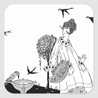 Vintage Woman with Bird Bath and Swallows Square Sticker