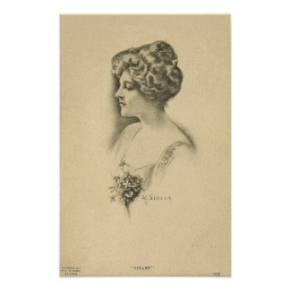 Vintage Woman With Bouquet Poster